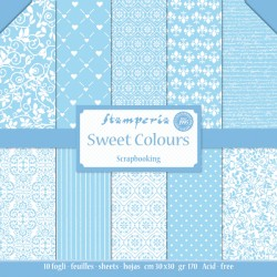 STAMPERIA - SWEET COLORS COLLECTION - 30 X 30 CM BLOCCO CARTE - AZZURRO