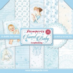 STAMPERIA - SWEET BABY COLLECTION - 30 X 30 CM BLOCCO CARTE - AZZURRO