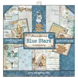 BLOCCO CARTE 10 FOGLI DOUBLE FACE BLUE STARS - 30.5 X 30.5 CM STAMPERIA
