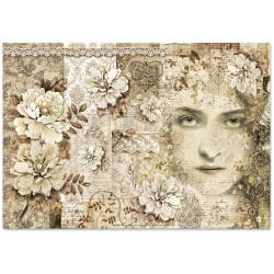 CARTA RISO 48 x 33 OLD LACE VOLTO  - STAMPERIA