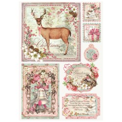 CARTA RISO A4 SWEET CHRISTMAS CARD - STAMPERIA