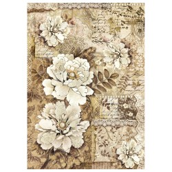 CARTA RISO A4 OLD LACE PEONIE - STAMPERIA