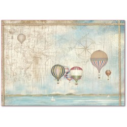 CARTA RISO 48 x 33 SEA LAND MONGOLFIERE - STAMPERIA