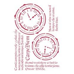 STENCIL G OROLOGI E SCRITTE 21 x 29,5 CM - STAMPERIA