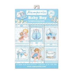 BLOCCO CARTE 24 FOGLI DOUBLE FACE  - 11,4x16,5 BABY BOY STAMPERIA