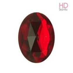 Cabochon ovale in acrilico rosso d. 25x35mm x 1pz