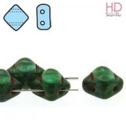 SILKY BEAD DIAMOND 5X5mm TEAL PICASSO x 40pz