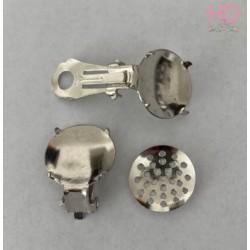 Base x orecchino a clip con ghiera col. rodio x 4 pz