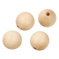 Pallina legno grezzo forata 40mm 4pz