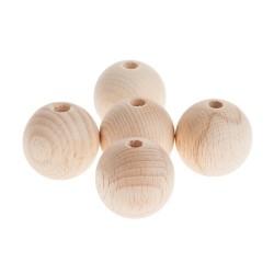 Pallina legno grezzo forata 35mm 5pz