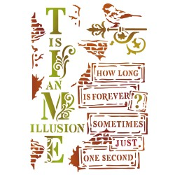 STENCIL D - TIME IS AN ILLUSION 20 x 15 CM - STAMPERIA