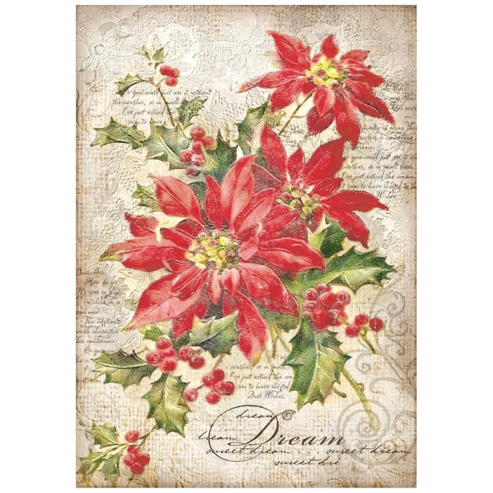 Stella Di Carta Natale.Carta Riso A4 Stella Di Natale Hobbydecorazioni Com