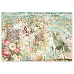 CARTA RISO 48 x 33 WONDERLAND UNICORNO - STAMPERIA