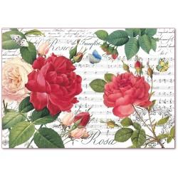 CARTA RISO 48 x 33 ROSE ROSSE E MUSICA  - STAMPERIA