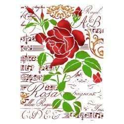 STENCIL G ROSA E MUSICA -  21 x 29,5 CM - STAMPERIA