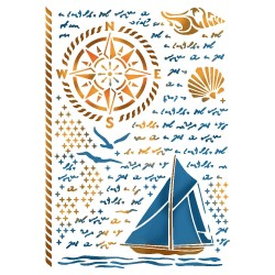 STENCIL G SEA LAND -  21 x 29,5 CM - STAMPERIA