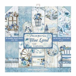 BLOCCO CARTE 10 FOGLI DOUBLE FACE BLUE LAND - 30.5 X 30.5 CM STAMPERIA
