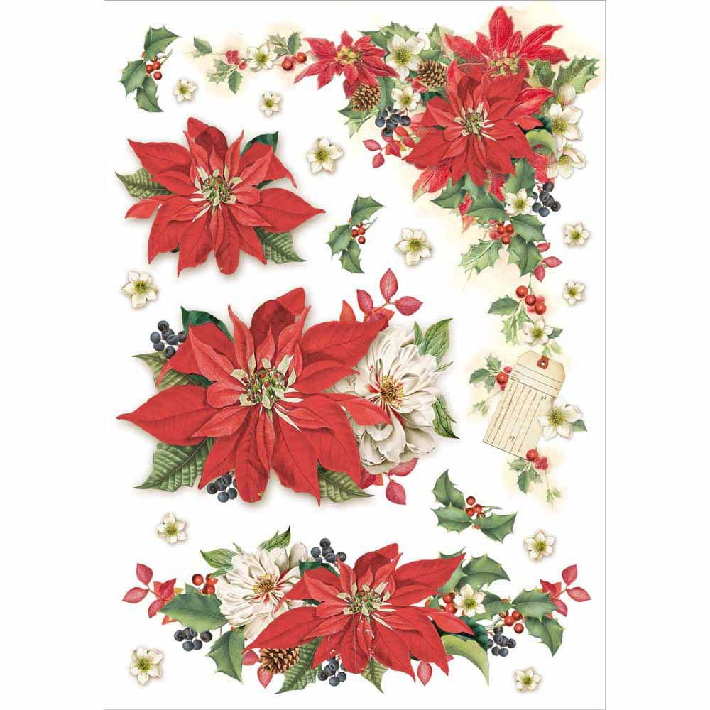 Stella Di Natale Punto Croce.Carta Riso A4 Christmast Vintage Stella Di Natale Hobbydecorazioni Com