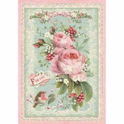 CARTA RISO A4 Pink Christmas Rosa - STAMPERIA