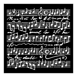 STENCIL TD MUSIC SCORES -  18 x 18 CM - STAMPERIA