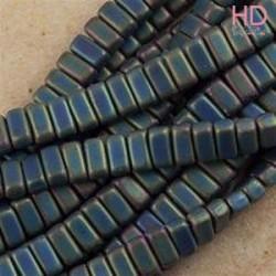 PERLINE BRICKS 3X6 MM 2 FORI -MATTE IRIS GREEN 50PZ