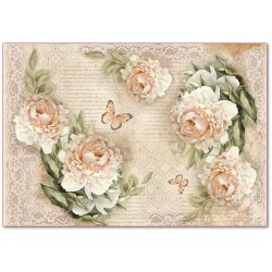 CARTA RISO 48 x 33 peony and laces - STAMPERIA