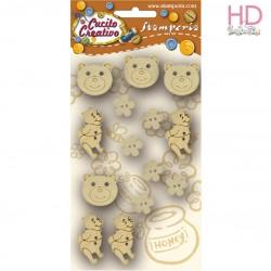 Confezione 14 bottoni in legno orsetto