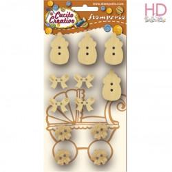 Confezione 12 bottoni baby assortiti
