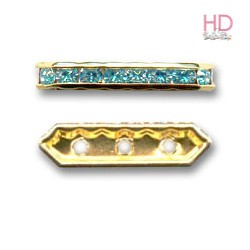 Barra Strass 77719 Aquamarine base oro 3 fori 5x19mm - 1Pz