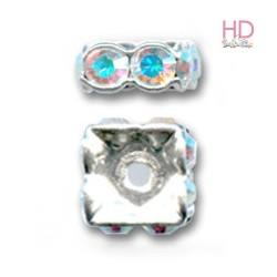Rondelle Square 77610 Crystal Aurora Boreale base oro 1 foro 10 x 3,5mm - 1Pz