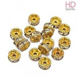 Rondelle Strass 77508 Crystal base oro 1 foro 8 mm - 1Pz