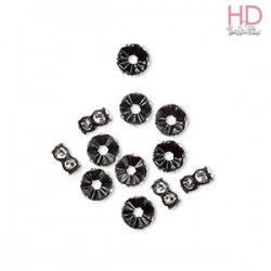 Mini Rondelle Strass 4720 Crystal base nero 1 foro 6 mm - 1Pz