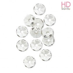 Mini Rondelle Strass 4720 Crystal base argento satinato 1 foro 6 mm - 1Pz