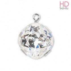 Charms quadrato Swarovski Crystal base argento 18704  x 1pz