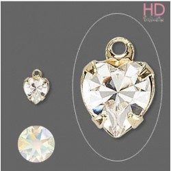 Charms Cuore Swarovski Crystal Ab base oro 12204  x 1pz