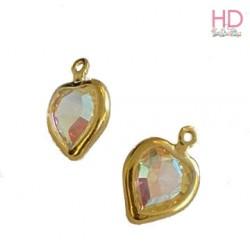 Charms Cuore Swarovski Crystal Ab base oro 52200  x 1pz