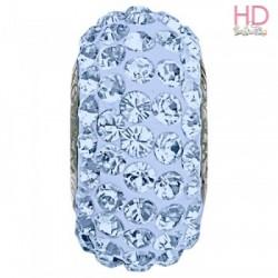 Rondella Strass Swarovski tipo Pandora Light Sapphire base argento 925 x 1pz