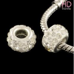Rondella Strass economica tipo Pandora Crystal base ottone argento x 1pz