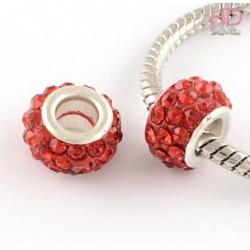 Rondella Strass economica tipo Pandora Siam base ottone argento x 1pz
