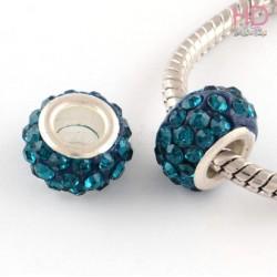 Rondella Strass economica tipo Pandora Emerald base ottone argento x 1pz