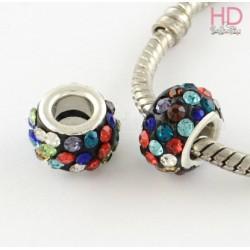 Rondella Strass economica tipo Pandora Multicolor base ottone argento x 1pz