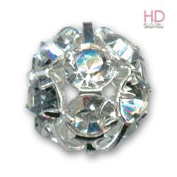 Sfera metallica argento con Strass Crystal 8mm x 1pz