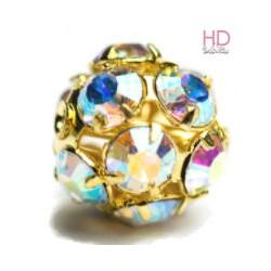 Sfera metallica oro con Strass Swarovski Crystal Aurora Boreale 10mm x 1pz