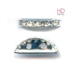 Mezzaluna Strass 77319 Crystal Aurora Boreale base argento 2 fori 19x7mm x 1pz
