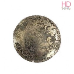 Tondo in vetro trasparente e argento diam. 2,5 cm