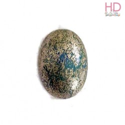 Ovale in vetro azzurro polvere e argento d. 18x13cm