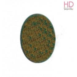Ovale in vetro verde smeraldo e oro d. 18x13cm x 1pz