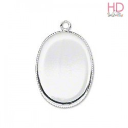 Base ovale con anellino color argento 2,5x1,8cm